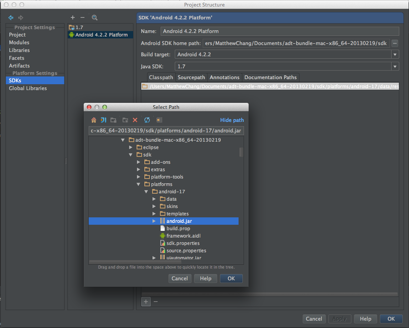 IntelliJ IDEA에서 안드로이드 프로젝트 생성시 android.app does not exist 오류(Android SDK 4.2.2)