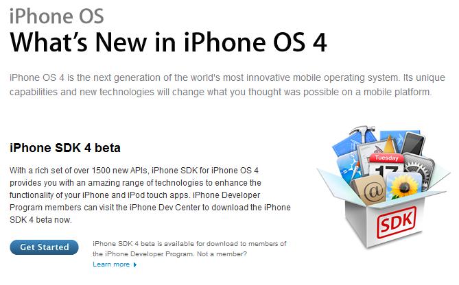 아이폰 OS 4.0, 개발자용 프리뷰 버전 공개