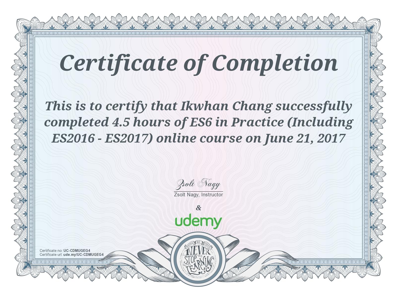 [업무일지] Udemy – ES6 in Practice 완강, 강의 정리